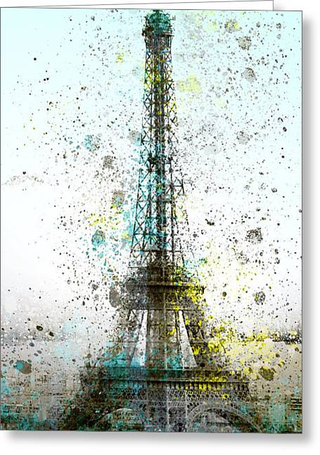 Colorspot Greeting Cards - City-Art PARIS Eiffel Tower II Greeting Card by Melanie Viola