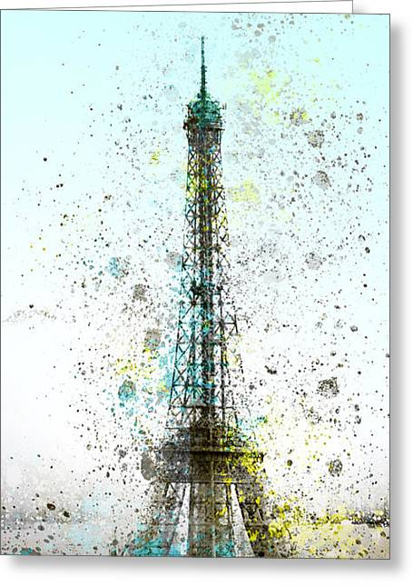 Broadcast Antenna Greeting Cards - City-Art PARIS Eiffel Tower II Greeting Card by Melanie Viola