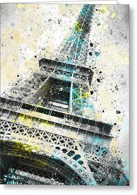 Spots Greeting Cards - City-Art PARIS Eiffel Tower IV Greeting Card by Melanie Viola
