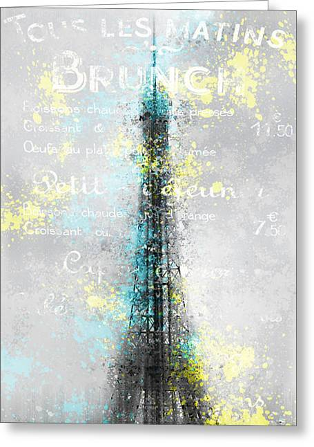 Broadcast Antenna Greeting Cards - City-Art PARIS Eiffel Tower LETTERS Greeting Card by Melanie Viola