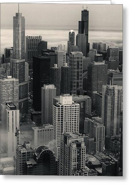 City At Dusk In Monotone Greeting Card by Sheryl Thomas