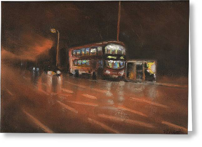 City Life Pastels Greeting Cards - City Bus Night 2 Greeting Card by Paul Mitchell