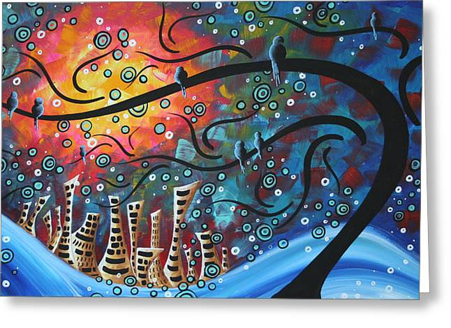 Whimsical Paintings Greeting Cards - City by the Sea by MADART Greeting Card by Megan Duncanson