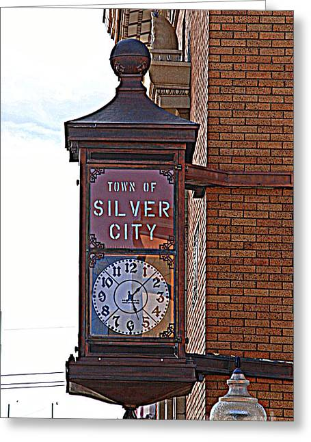 Silver City Greeting Cards - City Clock in Silver City NM Greeting Card by Susanne Van Hulst