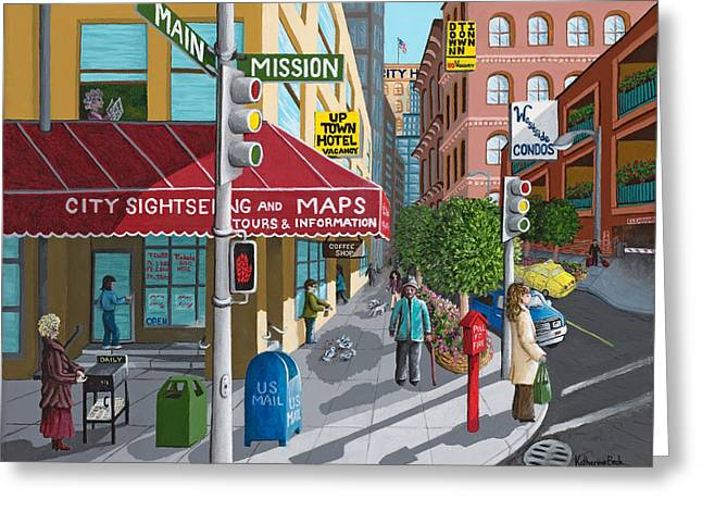 Main Street Corners Greeting Cards - City Corner Greeting Card by Katherine Young-Beck