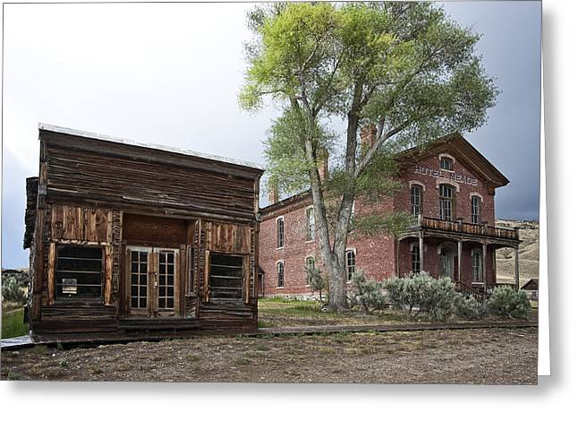 Dunn Greeting Cards - CITY DRUG STORE and HOTEL MEADE - BANNACK MONTANA GHOST TOWN Greeting Card by Daniel Hagerman
