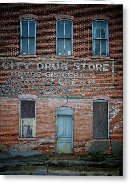 Grocery Store Greeting Cards - City Drug Store Greeting Card by Odd Jeppesen