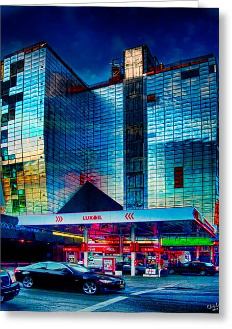 Chelsea Digital Art Greeting Cards - City Gas Station Greeting Card by Chris Lord