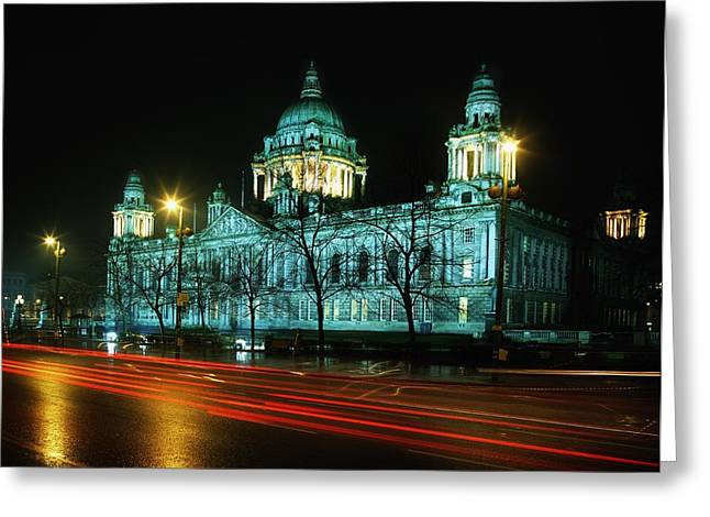 Streetlight Greeting Cards - City Hall, Belfast, Ireland Greeting Card by The Irish Image Collection