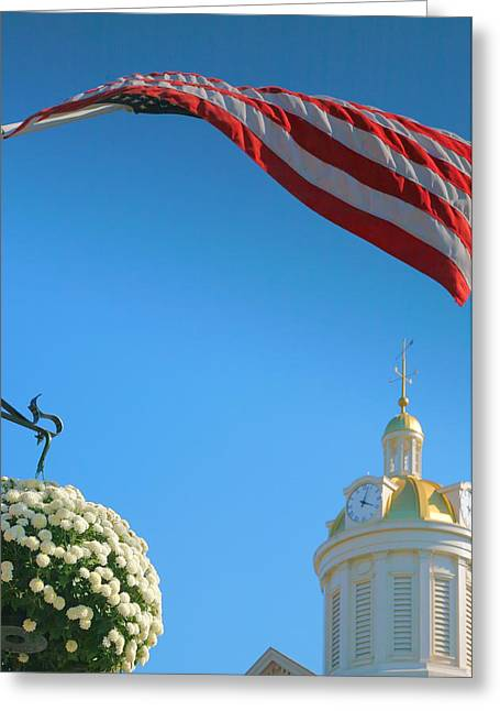 Indiana Autumn Greeting Cards - City Hall Dome And Flag Greeting Card by Steven Ainsworth