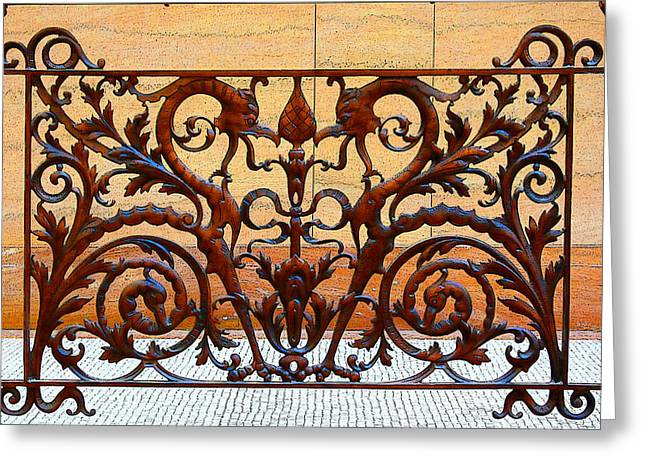 Cyril Greeting Cards - City Hall Iron Work Greeting Card by Geoff Strehlow