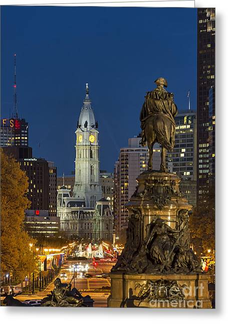 Phila Greeting Cards - City Hall Philadelphia Greeting Card by John Greim