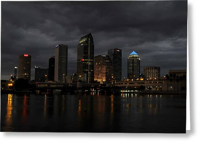Stormy Night Greeting Cards - City in the Storm Greeting Card by David Lee Thompson