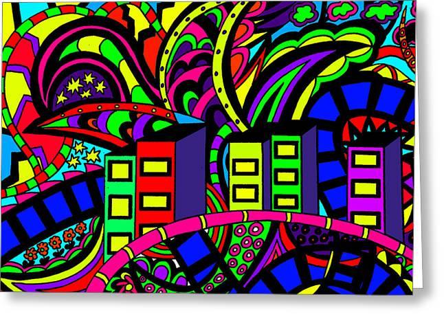 Karen Elzinga Mixed Media Greeting Cards - City life Greeting Card by Karen Elzinga