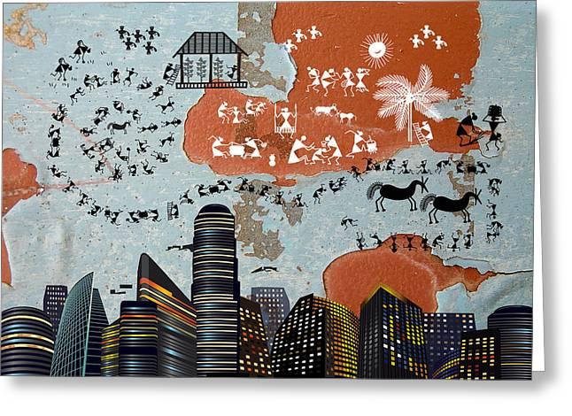 Warli Framed Prints Greeting Cards - City Life Greeting Card by Subhash Limaye