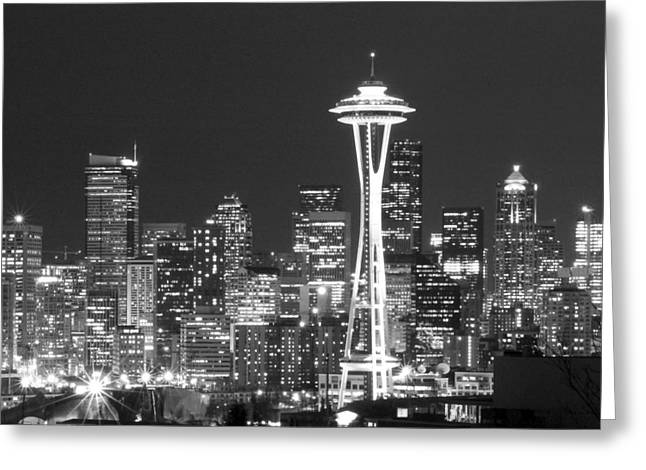 Space Needle Greeting Cards - City Lights 1 Greeting Card by John Gusky