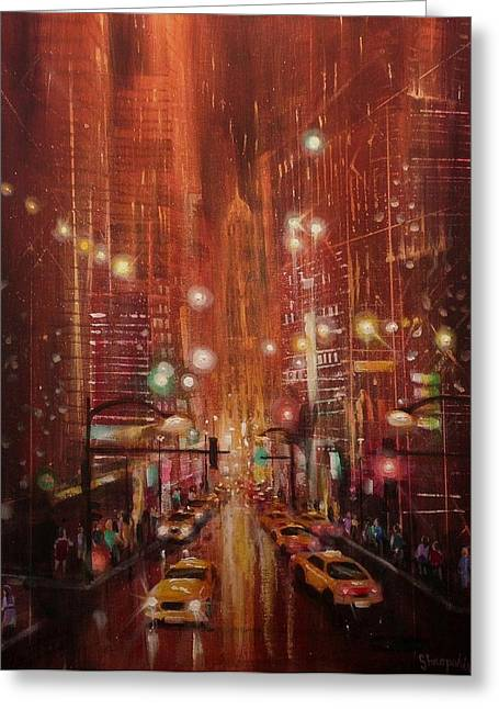 City Lights Greeting Cards - City Lights 2 Greeting Card by Tom Shropshire