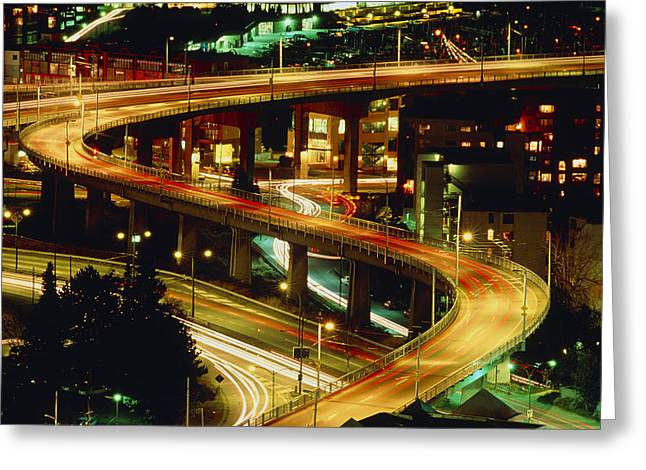 City Lights Greeting Cards - City Lights And Traffic On Bridge In Vancouver Greeting Card by Kaj R. Svensson