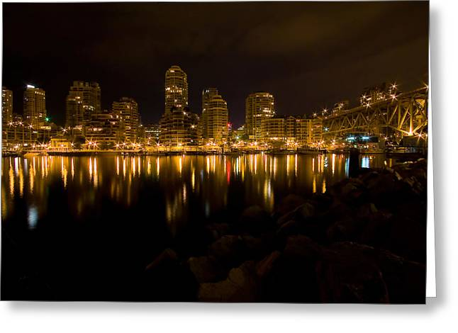 Cambie Bridge Greeting Cards - City Lights Greeting Card by Naman Imagery