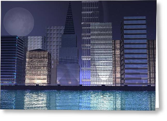 Gt Greeting Cards - City Lights Greeting Card by Gt