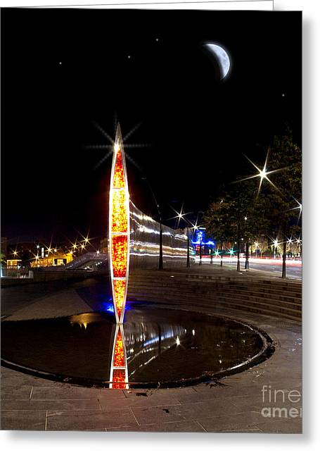 Steel Water Feature Greeting Cards - City Lights Greeting Card by Nigel Hatton