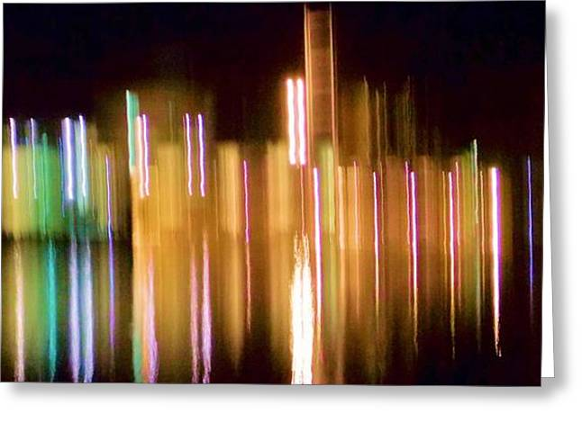 City Lights Over Water Abstract Greeting Card by Carolyn Repka