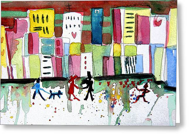 Downtown Drawings Greeting Cards - City Love Greeting Card by Mindy Newman