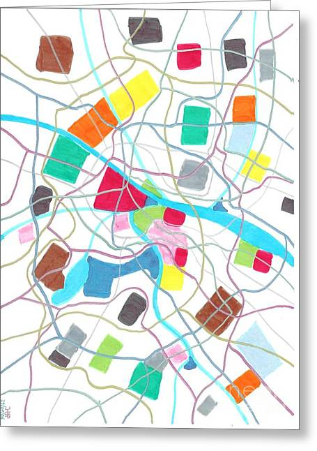 Development Drawings Greeting Cards - City map Greeting Card by Jeroen Hollander