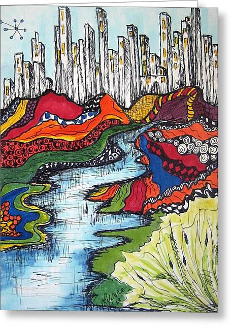 City Meets Nature Greeting Card by Lynne Howard