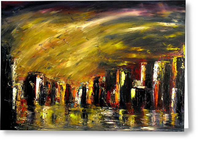 Soleil Couchant Greeting Cards - City Night Greeting Card by Marchini Pierre paul