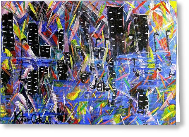 Contemporary Night Scape Greeting Cards - City Nights Greeting Card by Katina Cote