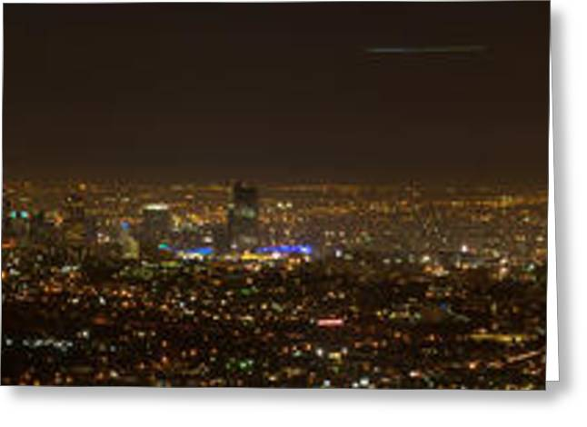 Nightshot Greeting Cards - City of Angels Panorama Greeting Card by Brad Scott