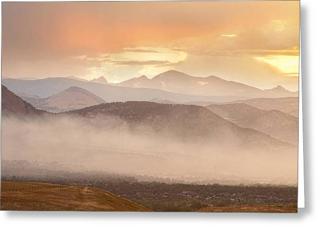 Colorado Wildfires Greeting Cards - City Of Boulder Colorado Smoky OverLook  Greeting Card by James BO  Insogna