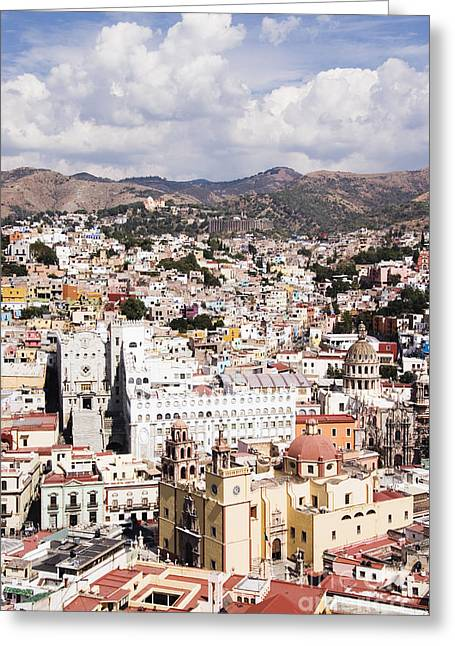 Office Space Photographs Greeting Cards - City of Guanajuato from the Pipila Overlook at Dusk Greeting Card by Jeremy Woodhouse