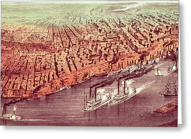 M J Greeting Cards - City of New Orleans Greeting Card by Currier and Ives