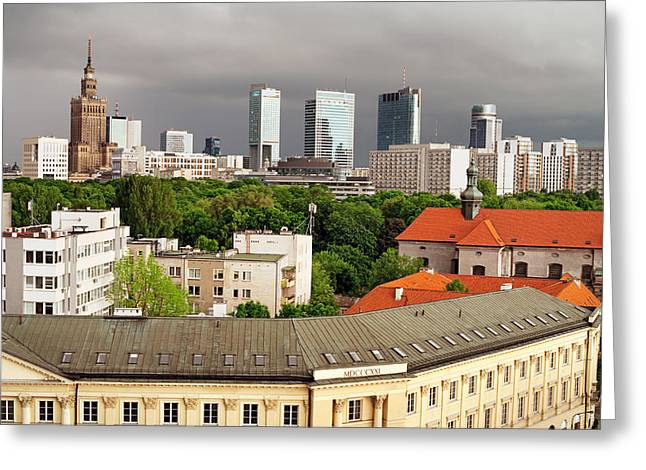 Residential Structure Greeting Cards - City of Warsaw Skyline Greeting Card by Artur Bogacki