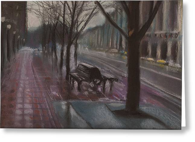 Traffic Pastels Greeting Cards - City Rain 9 Greeting Card by Paul Mitchell
