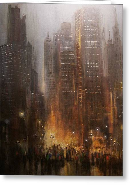 Night Scenes Greeting Cards - City Rain Greeting Card by Tom Shropshire