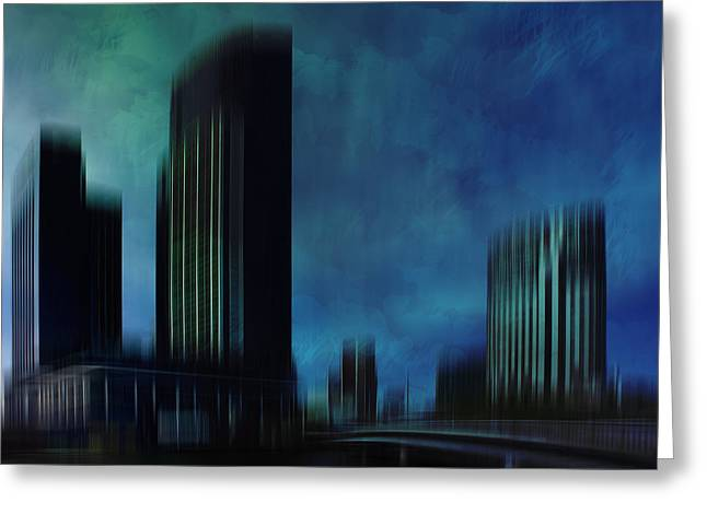 River View Digital Art Greeting Cards - City Shapes MELBOURNE I Greeting Card by Melanie Viola