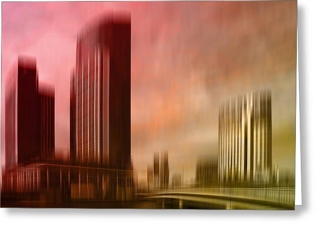 River View Digital Art Greeting Cards - City Shapes MELBOURNE II Greeting Card by Melanie Viola