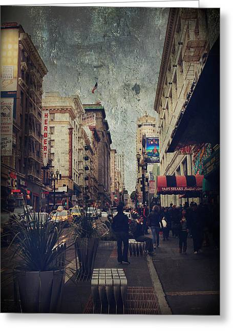 People Walking Greeting Cards - City Sidewalks Greeting Card by Laurie Search