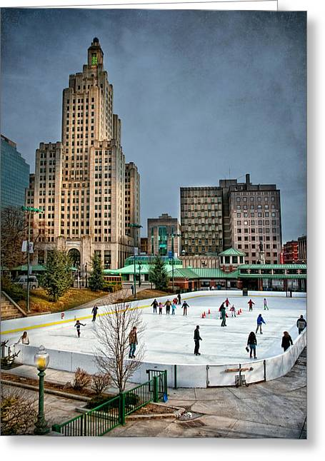 Ice-skating Greeting Cards - City Skaters Greeting Card by Robin-lee Vieira