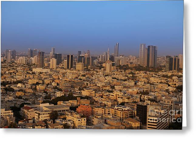 Office Space Photographs Greeting Cards - City Skyline Greeting Card by Noam Armonn