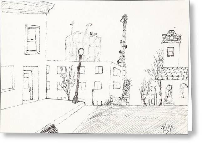 City Street - Sketch Greeting Card by Robert Meszaros