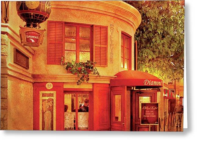 City - Vegas - Paris - Vins Detable Greeting Card by Mike Savad