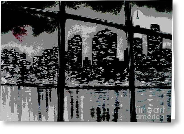Reflecting Water Mixed Media Greeting Cards - City View Greeting Card by Carla Carson