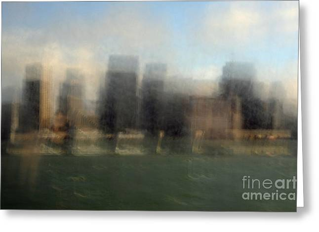 Grey Clouds Greeting Cards - City View Through Window Greeting Card by Catherine Lau