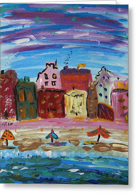 Urbam Greeting Cards - City with a Pink Boardwalk Greeting Card by Mary Carol Williams