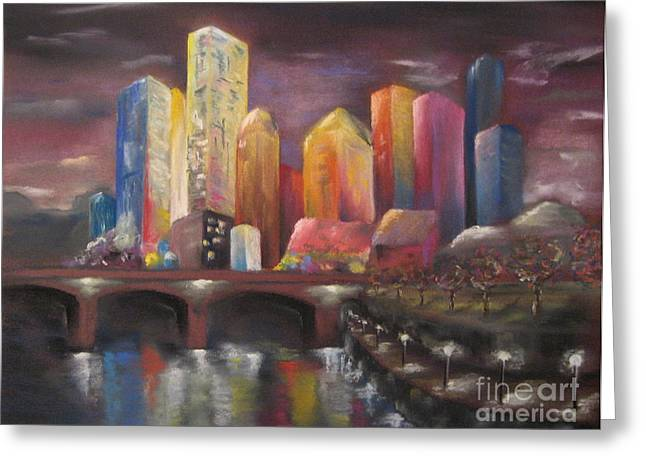 Skylines Pastels Greeting Cards - Citylights Greeting Card by Sabina Haas