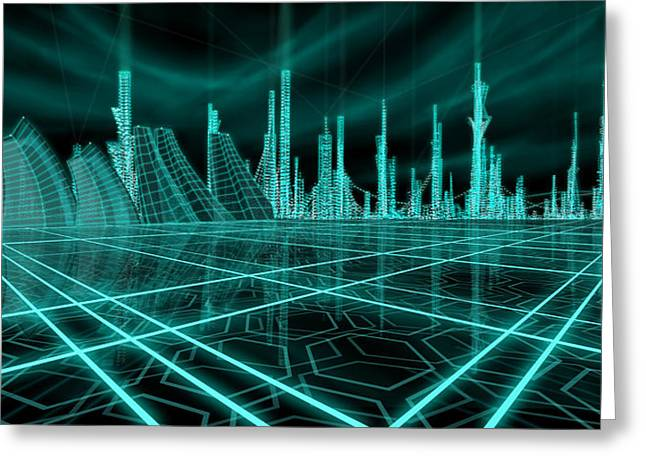 Tron Greeting Cards - Cityscape 2010 Alpha Greeting Card by James Christopher Hill